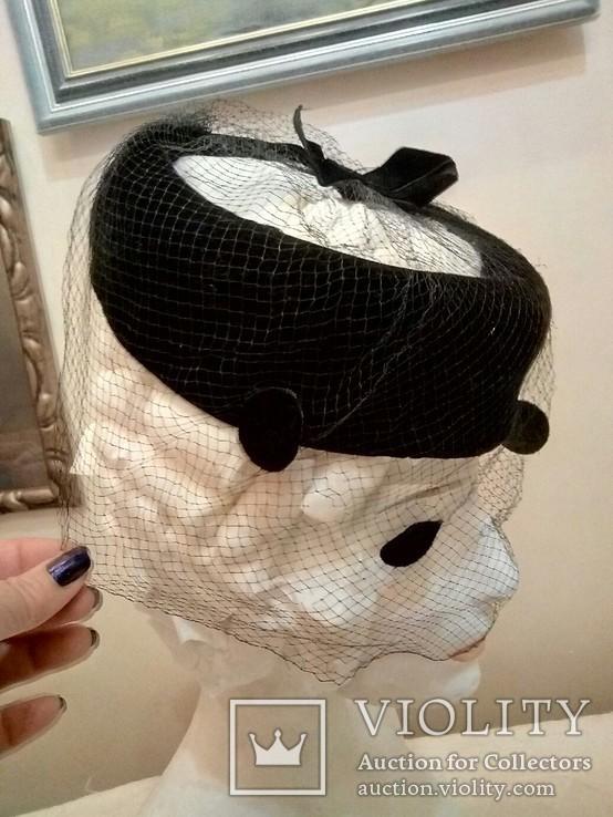 Женская шляпка. Черный фетр. Вуаль с крупными ''мушками '', фото №10