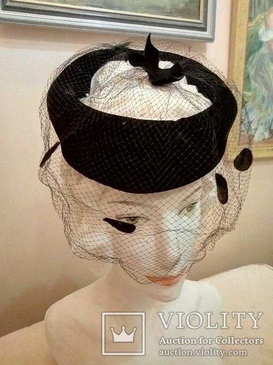 Женская шляпка. Черный фетр. Вуаль с крупными ''мушками '', фото №13