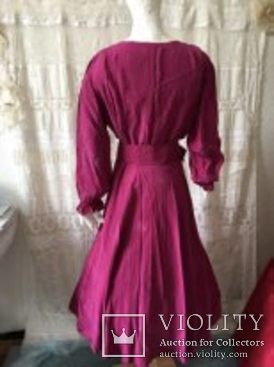 Крепдешиновое платье ярко малиновое 1950 год., фото №5