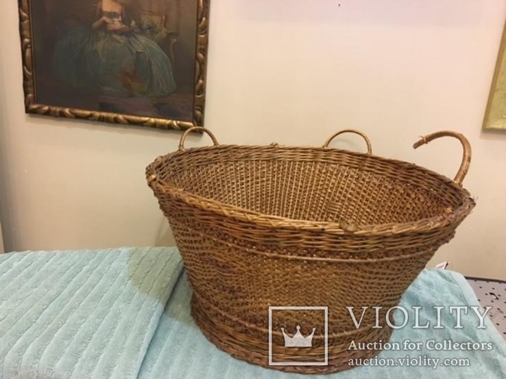 Антикварная большая корзина 1900 год.красивое плетение, фото №2