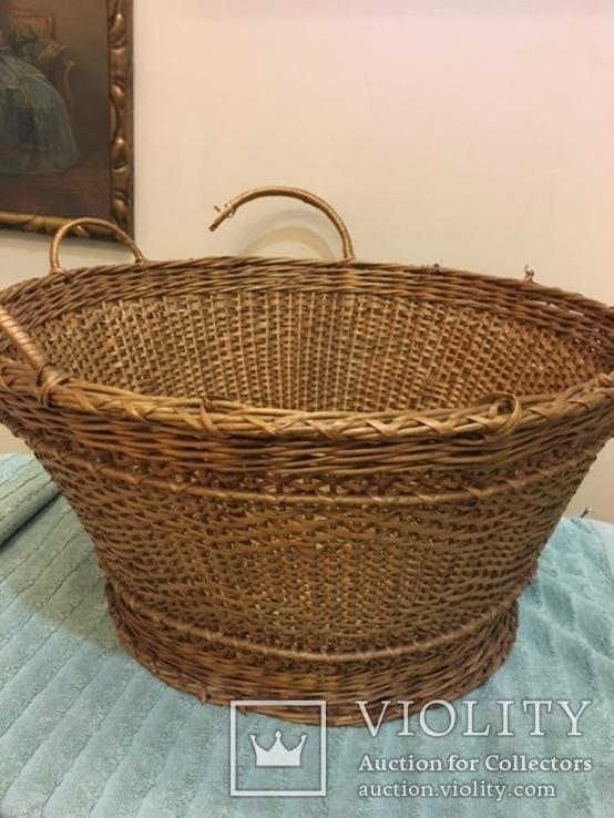 Антикварная большая корзина 1900 год.красивое плетение, фото №6