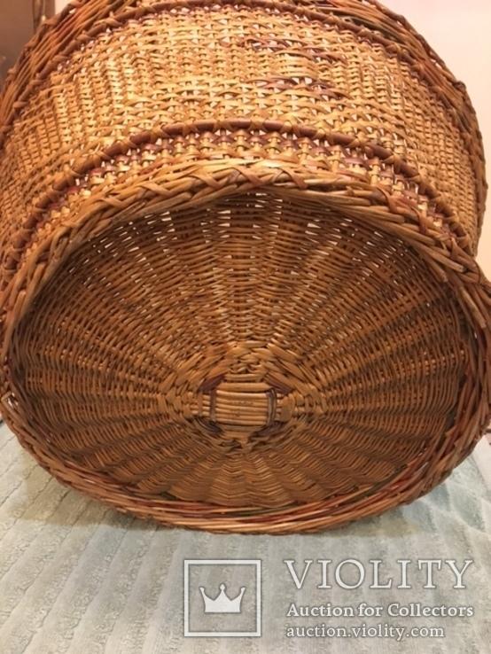 Антикварная большая корзина 1900 год.красивое плетение, фото №8