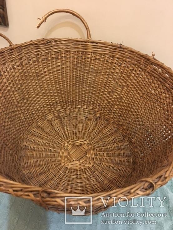 Антикварная большая корзина 1900 год.красивое плетение, фото №9