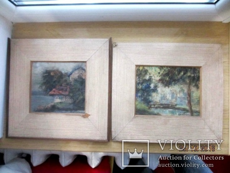 Две картине масло 1917 года австро-венгрия подпись художника