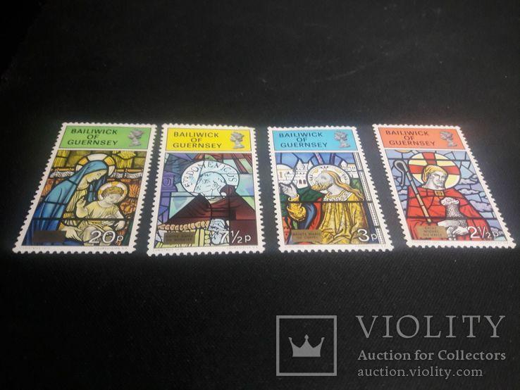 Полная серия марок Гернси(Великобритания) 1973 г., фото №3