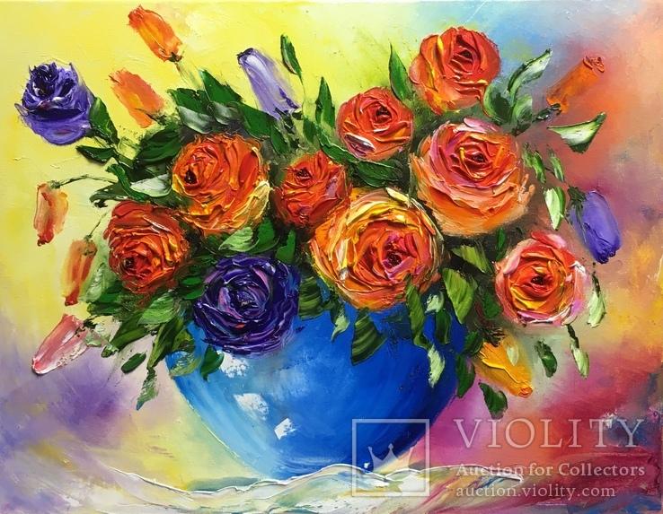 Картина «Букет роз» масло мастихин 35х45