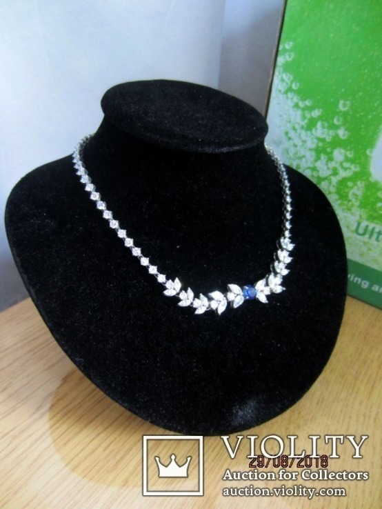 Колье серебро 925 синий камень цирконий, фото №2