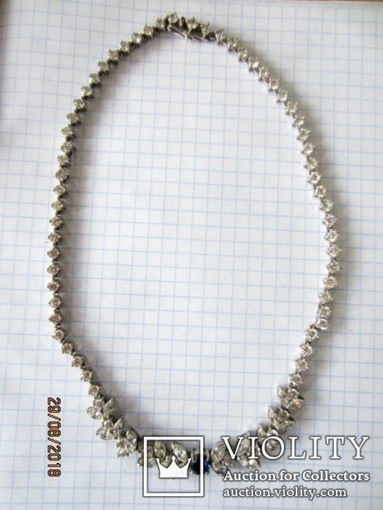 Колье серебро 925 синий камень цирконий, фото №3