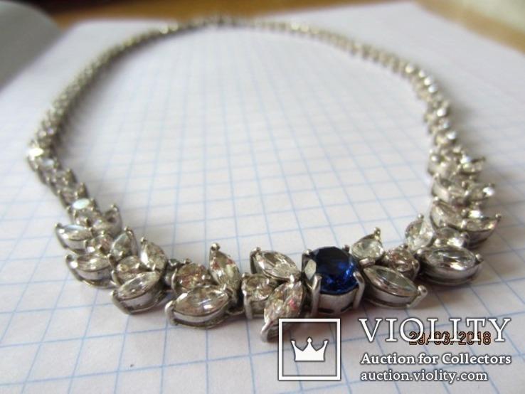 Колье серебро 925 синий камень цирконий, фото №5