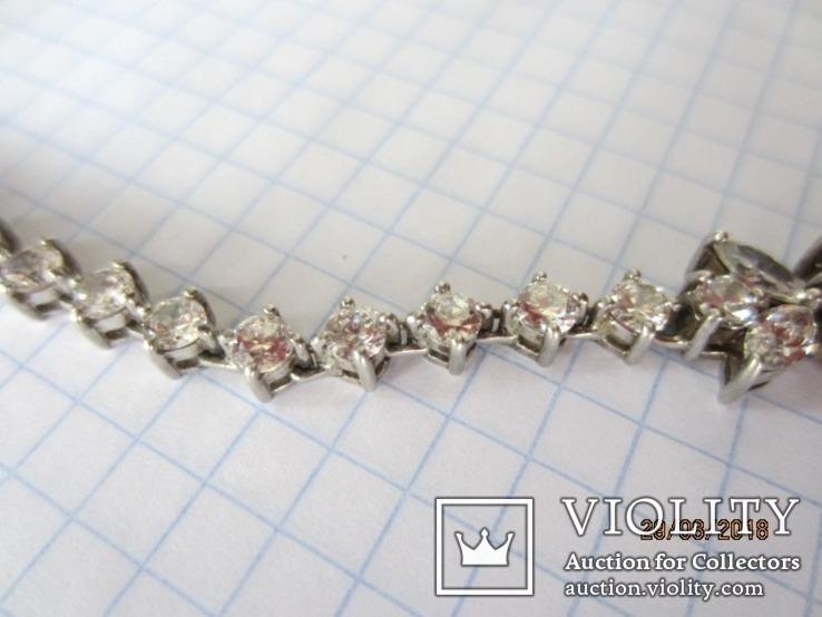 Колье серебро 925 синий камень цирконий, фото №6