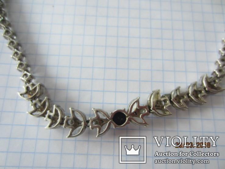 Колье серебро 925 синий камень цирконий, фото №8