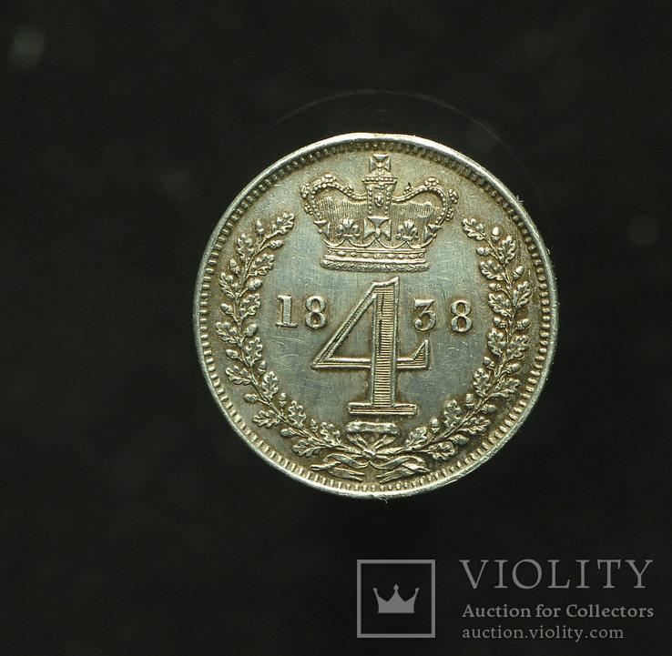 Великобритания 4 пенса 1838 маунди aUnc серебро