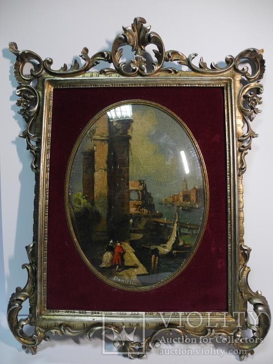 Старинная Картина в шикарной резной раме в стеле Бароко Рококо