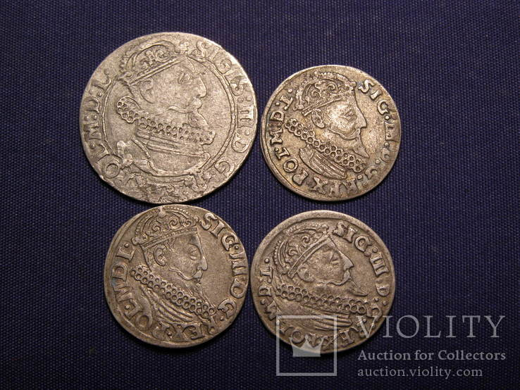 6 грошів 1624 3 гроші 1624(2шт) 3 гроші 1621