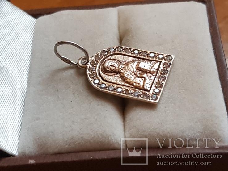 Нательная иконка. Серебро 925. Позолота. Вес 1.85г, фото №2