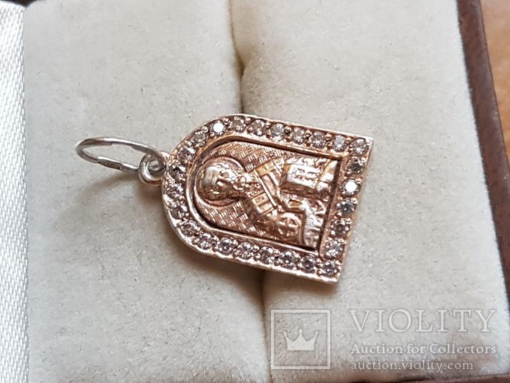 Нательная иконка. Серебро 925. Позолота. Вес 1.85г, фото №3