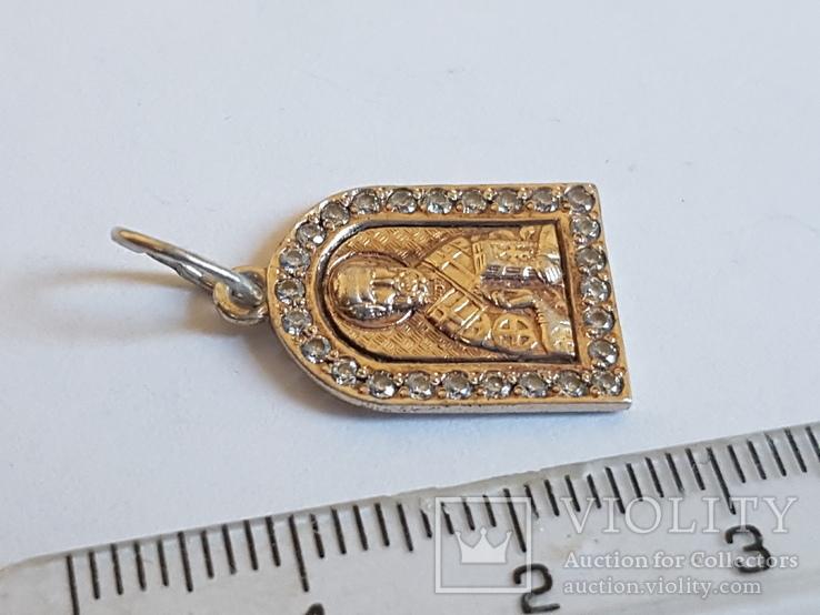 Нательная иконка. Серебро 925. Позолота. Вес 1.85г, фото №4