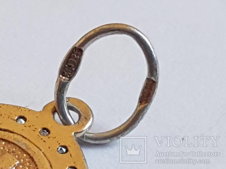 Нательная иконка. Серебро 925. Позолота. Вес 1.85г, фото №7