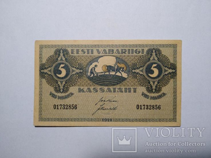 5 марок 1919 года, Эстонская республика, UNC