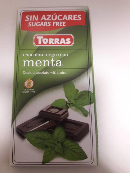 Шоколад без сахара Torras черный с мятой Испания 75г, фото №4