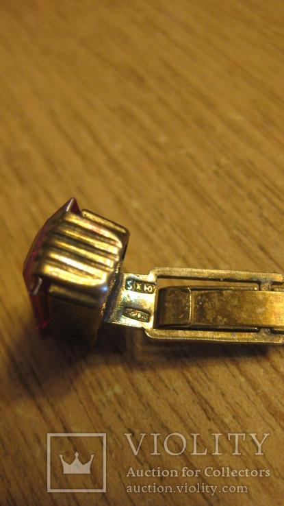 Запонки серебряные 875 с камнями, фото №7