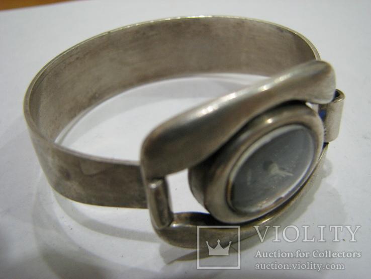 Серебряный (800-я) браслет и корпус женских часов., фото №2