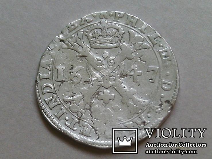 Талер Патагон. 1647. Филипп IV. Нидерланды. Турне.