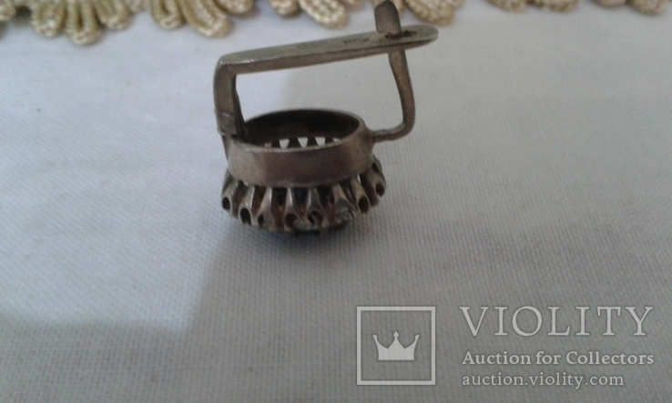 Серьга серебро СССР 875 проба камень., фото №3