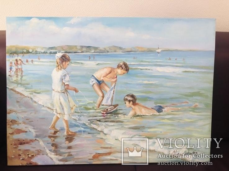 Картина дети и море