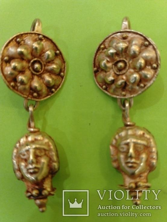 Античные золотые серьги. Вес 9,1гр.