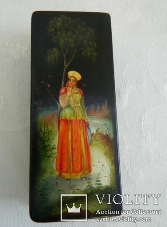 Шкатулка лаковая миниатюра Федоскино. Автор Теслицкая Н. 70-е годы