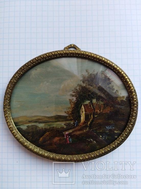 Старинная картина.миниатюрный портрет. Подпись