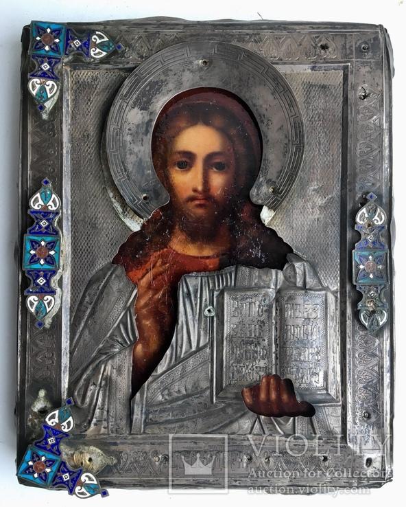 Спас в сер. окладе 84 пр. с накладками с выевмчатами эмалью (под реставрацию)