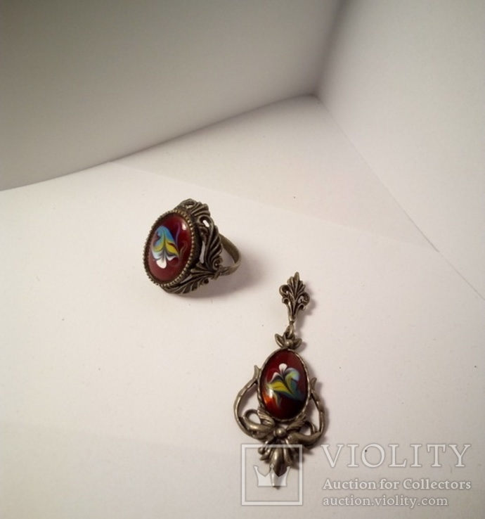 Кулон и кольцо. Финифть, фото №2