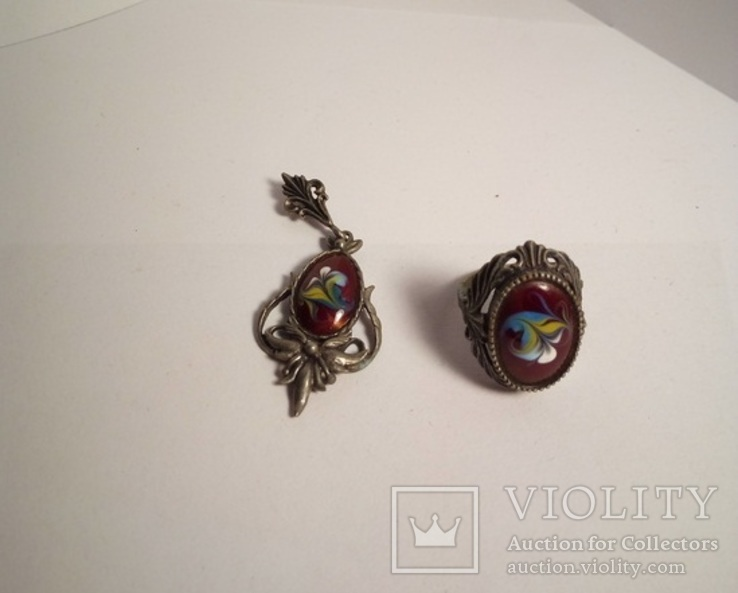 Кулон и кольцо. Финифть, фото №6