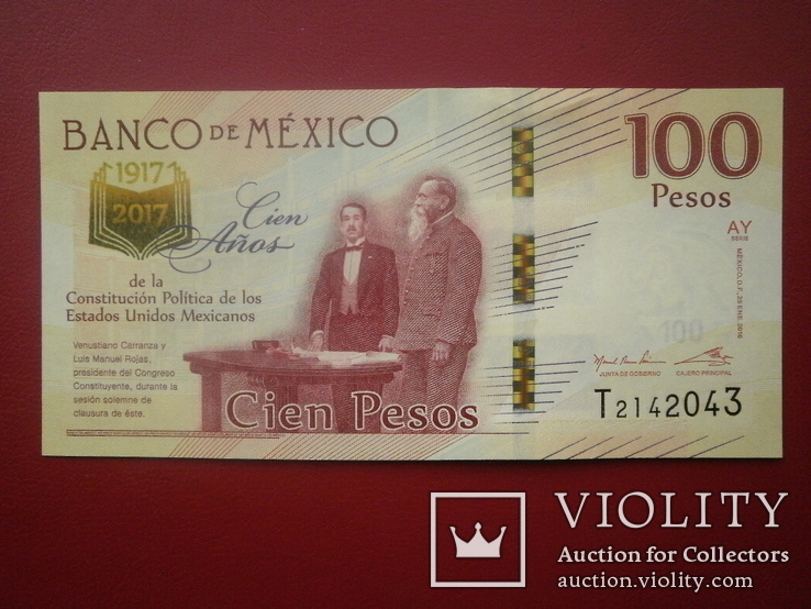 Мексика 2017 рік 100 песос UNC (ювілейна)., фото №2