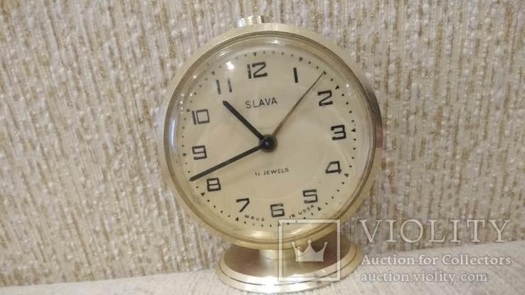 Часы будильник Слава 11 камней коричневые, фото №2