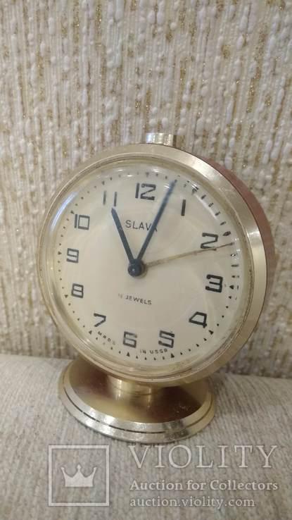 Часы будильник Слава 11 камней коричневые, фото №3