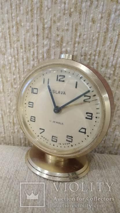 Часы будильник Слава 11 камней коричневые, фото №4