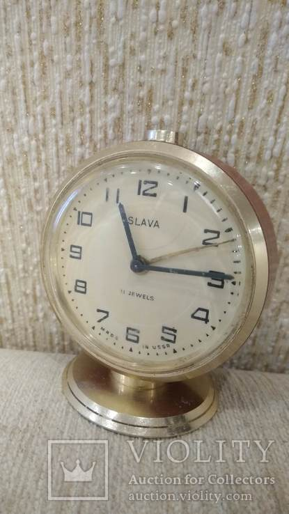 Часы будильник Слава 11 камней коричневые, фото №5