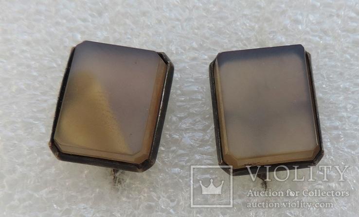 Запонки серебро 875 №53, фото №3