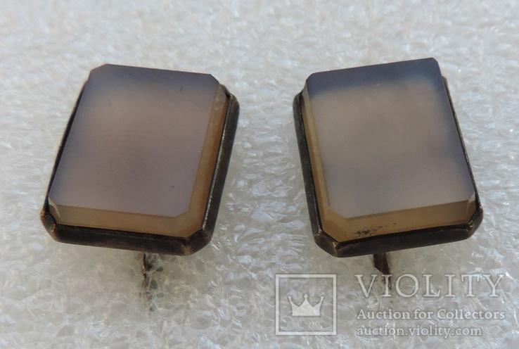 Запонки серебро 875 №53, фото №4
