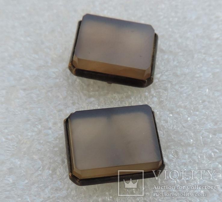 Запонки серебро 875 №53, фото №5