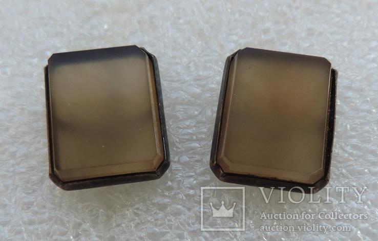 Запонки серебро 875 №53, фото №6