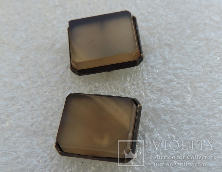 Запонки серебро 875 №53, фото №7