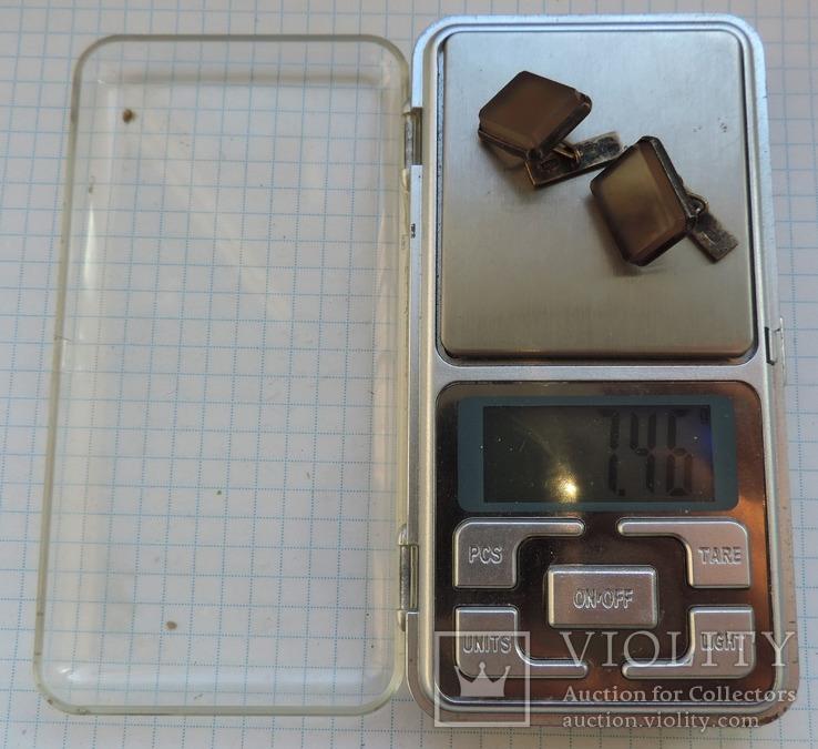 Запонки серебро 875 №53, фото №11