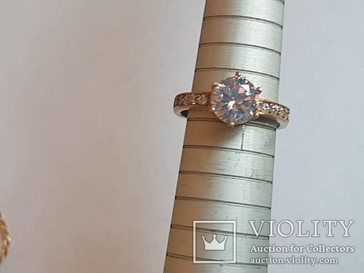 Набор серьги, кольцо, кулон, цепочка. Серебро 925 проба. Позолота., фото №6