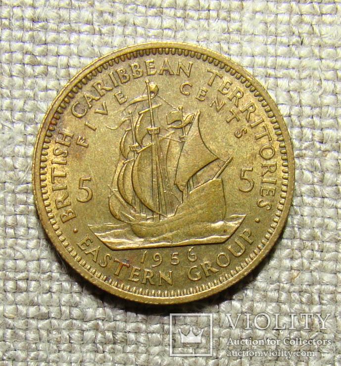 Восточные Карибы 5 центов 1956, фото №2