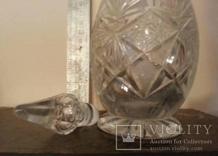 Хрустальный графин, ручная огранка, фото №3