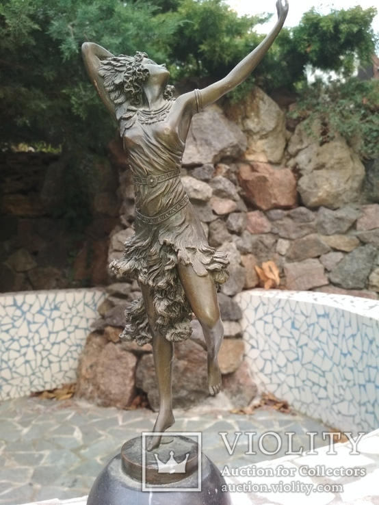 Танцовщица бронза гранит клеймо подпись, фото №3